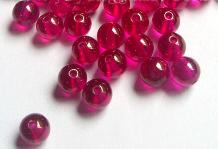 Synthetic-ruby-smooth-cabochon-ball-beads-with-drilled-hole