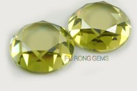 Flat-bottom-faceted-Diamond-cut-Olive-yellow-CZ-round-shape-stone