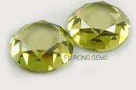 Flat-bottom-faceted-Diamond-cut-Olive-yellow-CZ-round-shape-stone