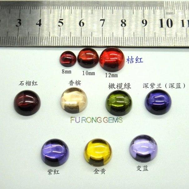 Loose-cubic-zirconia-round-cabochon-gemstones
