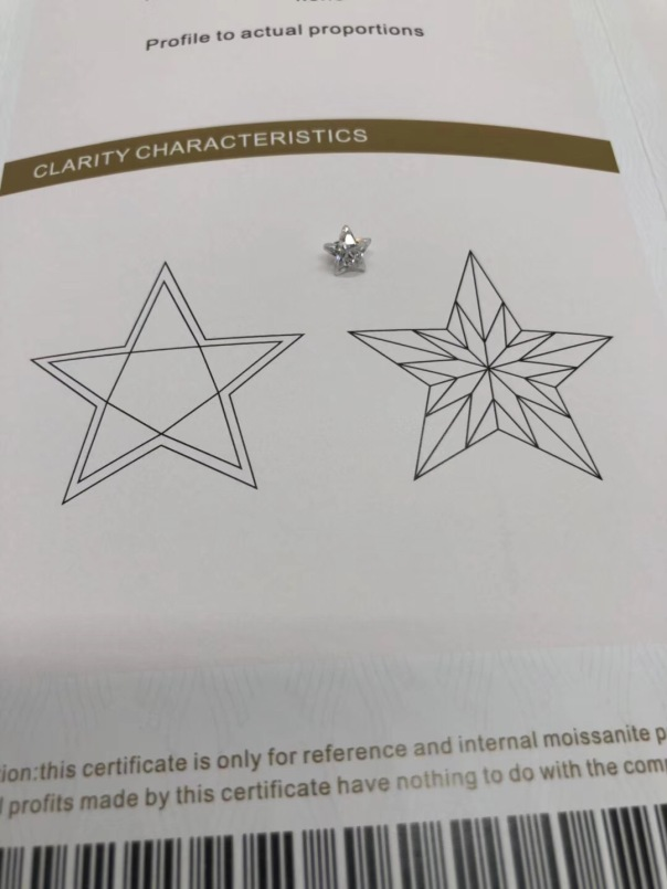 Five-star-shape-Moissanite-stones-with-certificate