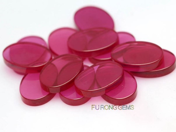 Lab-created-synthetic-ruby-Red-slices-Flat-gemstones