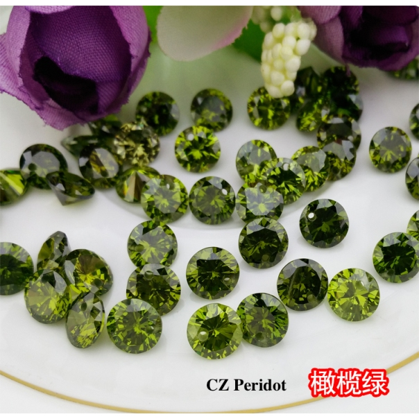 CZ-Peridot-Green-colored-CZ-Round-diamond-faceted-cut-with-drilled-holes-suppliers