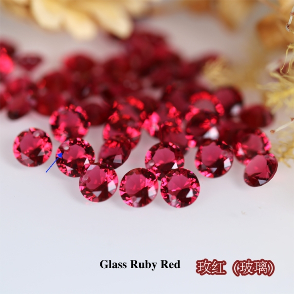Glass-Ruby-Red-Round-diamond-faceted-cut-drilled-holes-suppliers