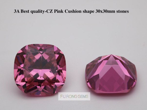 30x30mm-Cushion-Shape-Pink-Color-Cubic-Zirconia-Gemstones-For-Sale