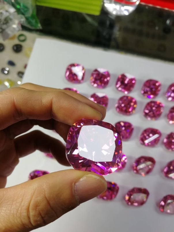 Cushion-Shape-CZ-Pink-Color-30x30mm-Gemstones