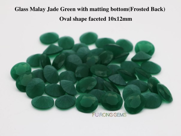 Glass-Malay-Jade-Green-with-matte-frosted-back-oval-shape-faceted-10x12mm-gemstones